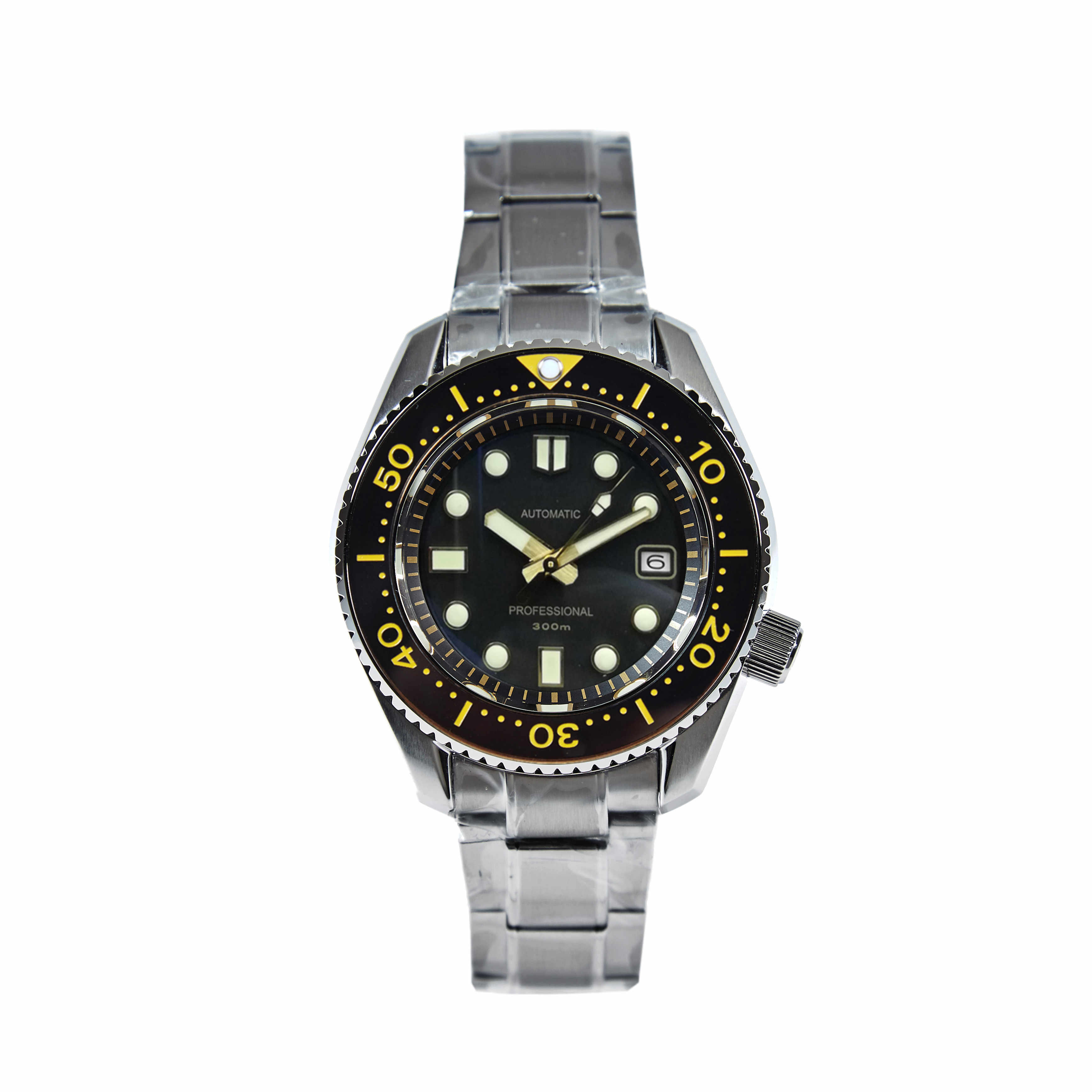 なしロゴstainles鋼バンド 44 ミリメートルブラックダイヤルセラミックベゼルサファイアガラス 300 メートル防水ステンレス鋼NH35 自動時計