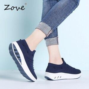 Image 5 - ZOVE damskie trampki buty płaskie klapki platformy buty oddychające siatkowe buty do chodzenia damskie Casual pnącza Rocker jesienne buty