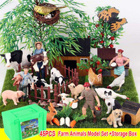 45pcs Farm Animals Toy Set with Storage Box Cow Lamb Chicken Ducks Poultry Model Toy Figure Animals Figurines Toys for Children