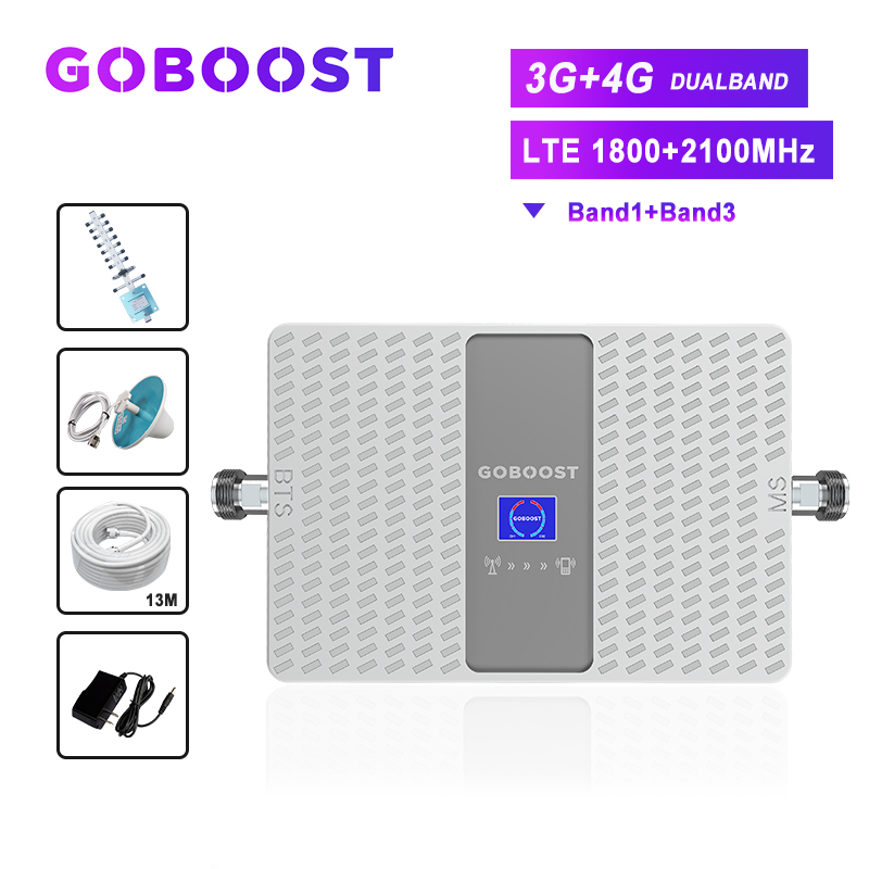 4G 3G Signal Amplifier Cellular Amplifier GSM 3G 4G Signal Repeater 1800 2100 3G Booster For Cell Phones Mobile Signal Antenna #