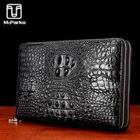 McParko Luxury men clutch bag Genuine leather card holder wallet Cowhide clutch wallet for men Fashion crocodile Hand Bag design