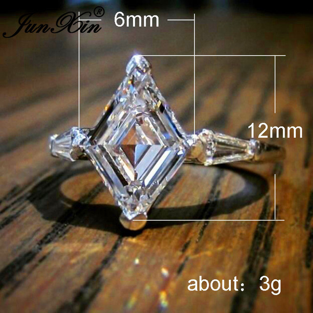 Unique Geometric Crystal Stone Horse Eye Rings For Women Silver Color White Zircon Promise Engagement Wedding Bands Boho Jewelry