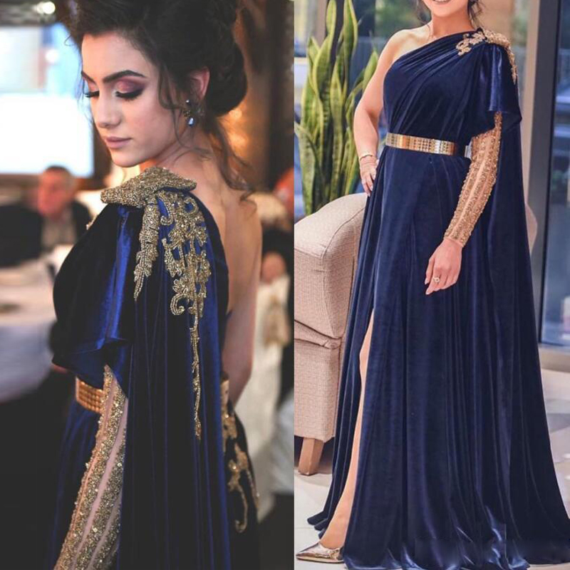 Navy Blue Dubai Evening Dresses Long A-Line Velvet Formal Dress Gold Belt One Shoulder Leg Split New Design Prom Gowns 2020