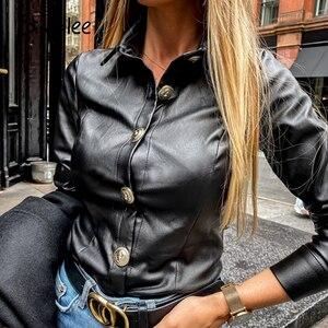 Image 1 - Simplee בציר ארוך שרוול נשים חולצה חולצה מזדמן תורו למטה צווארון שחור חולצה חולצה משרד ליידי כפתור עור מפוצל חולצה