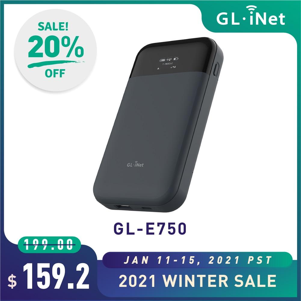 GL.iNet MUDI (GL-E750) 4G мини маршрутизатор для путешествий 750 Мбит/с 128 ГБ макс MicroSD с OpenWrt 7000 мАч Battary Портативный 4G LTE роутер