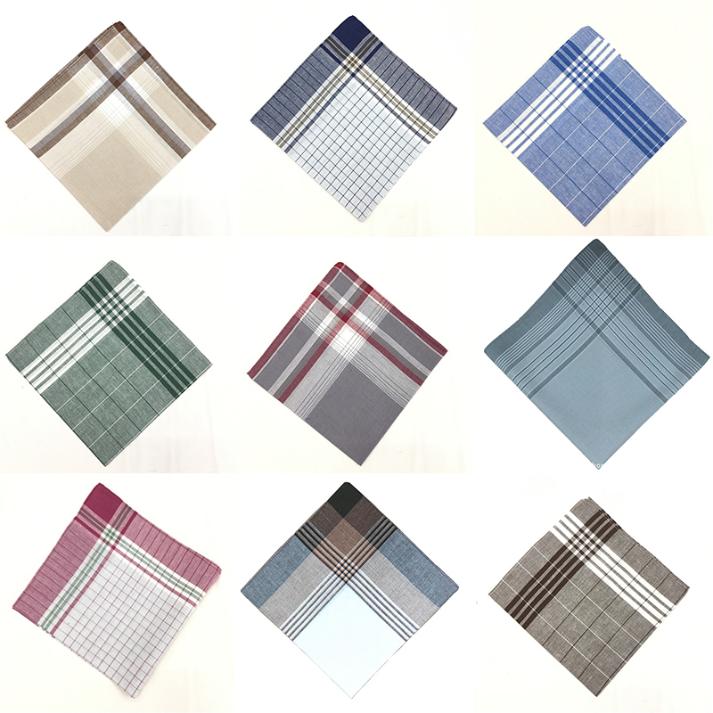 3Pcs Square Plaid Stripe Handkerchiefs Hanky Pocket Square Cotton Towel 40*40cm Random Color Unsiex Men Suit Pocket Handkerchief