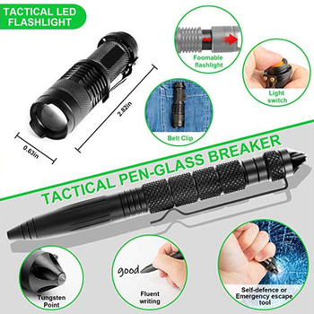 13 in 1 Outdoor Emergency Survival kit Tactical SOS, EDC with Flashlight Compass Knife Laser pointer 5
