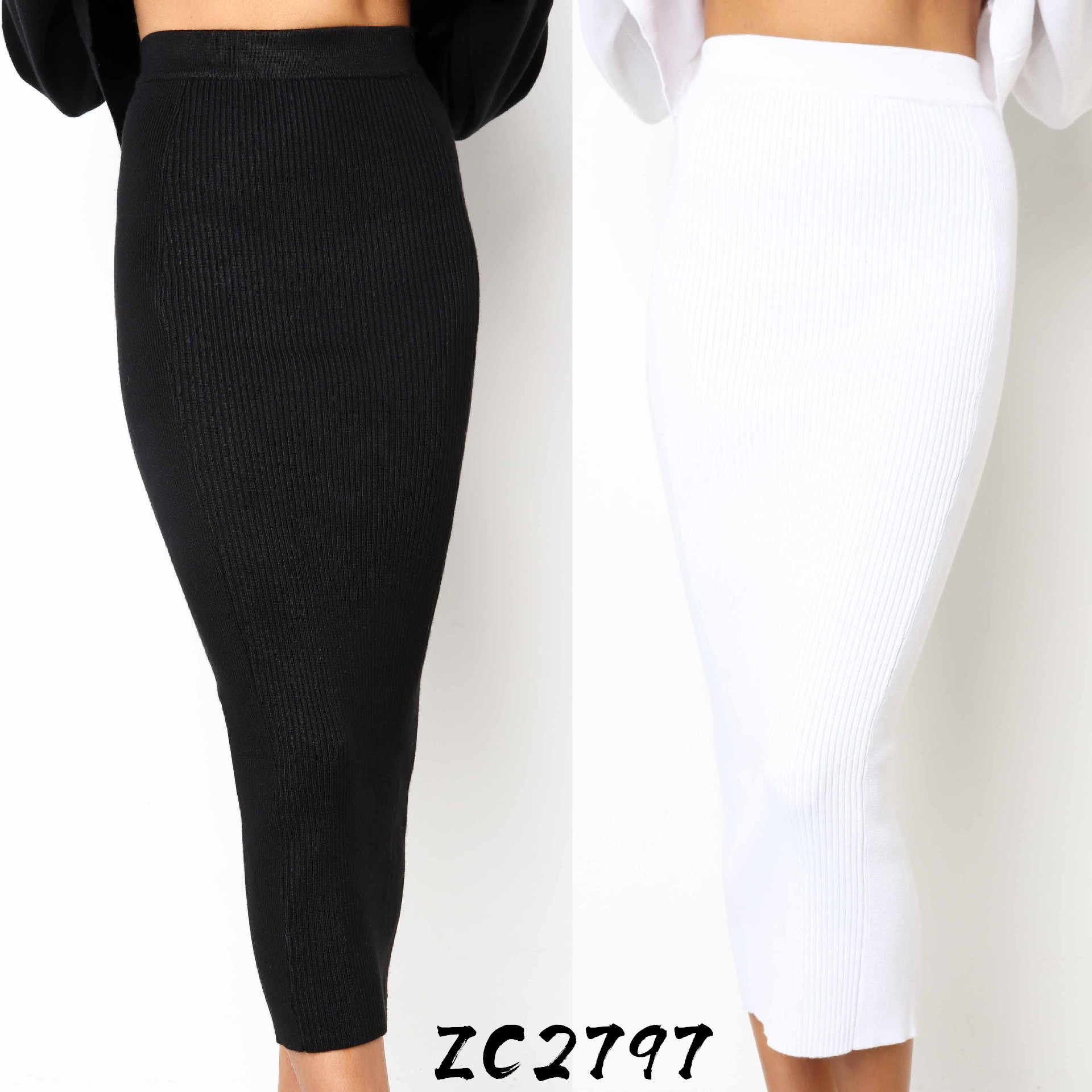 LOSSKY Knitted 2019 Autumn Bodycon Long Skirt Sexy Black White High Waist Tight Women Maxi Elegant Party Club Wear Pencil Skirts