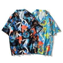 Men Shirt Short Sleeve 2021 New Arrival Summer Trendy Loose Male Shirt Thin Graffiti Cartoons Student Korean Style S45