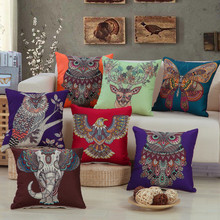 45x45cm Classic Animal National Style Square Pillowcase Cotton Linen Cushion Cover Sofa Home Decor 45x45cm classic pillowcase home flower national style printed cushion cover linen sofa seat bedroom decorative cushions