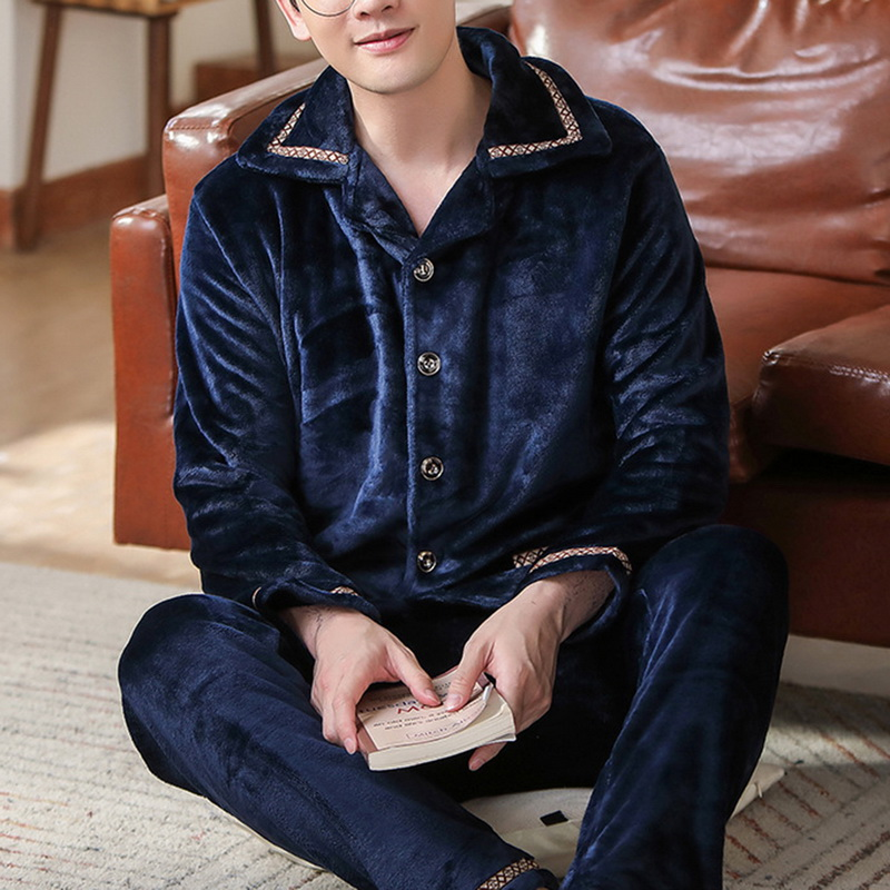 2020 Spring Thick Warm Blue Flannel Pajama Sets For Men Long Sleeve Velvet Sleepwear Suit Loungewear Home Clothes