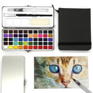 Image 4 - הגעה חדשה 50 צבע שקוף מוצק בצבעי מים נייד צבע בצבעי מים לילדים ציור בצבעי מים נייר ספקי