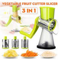 Roller Vegetable Slicer Cutter Potato Chopper Carrot Grater Detachable 3 Stainless Steel Blade Non-Slip Base Meat Grinder