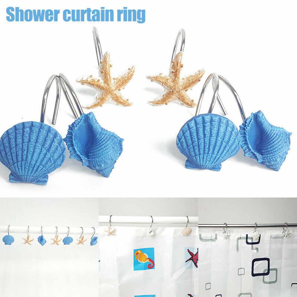 Tenske Kait 12Pcs Kamar Mandi Yang Indah Dekoratif Kerang Shower Tirai Kait Jendela Hiasan Pemegang Kait Dekorasi Rumah #45