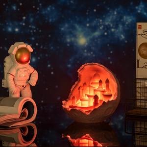 Image 2 - 2019 새로운 Dropship 야간 조명 3D 인쇄 문 성 램프 로켓 램프 애호가를위한 선물로 문 램프처럼