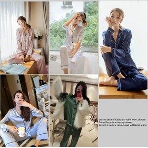 Image 5 - 가을 겨울 플러스 사이즈 잠옷 세트 여성 가짜 실크 새틴 잠옷 긴 소매 잠옷 정장 여성 수면 2 조각 homewear M 5XL