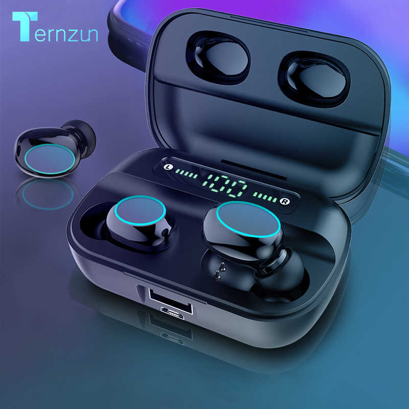Hbq Touch Bluetooth V5.0 Earphone Portable Tws Wireless Mini Earbud 3D Stereo Headset 3500 MAh Sebagai Power Bank dengan LED tampilan