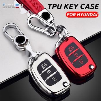 Soft TPU Car Remote Key Case Cover Shell For Hyundai ix25 ix35 i10 i20 Solaris Tucson Sonata Santa Fe Sport Elantra Creta Verna key cover new tpu for hyundai i30 i40 ix25 creta ix35 hb20 solaris elantra accent for kia k2 k5 rio sportage car key case