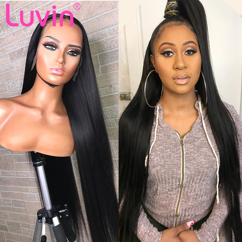 Luvin 250 Density 28 30 40 Inch Straight 13x6 Glueless Lace Front Human Hair Wigs Black Women Brazilian Frontal Wig Pre Plucked