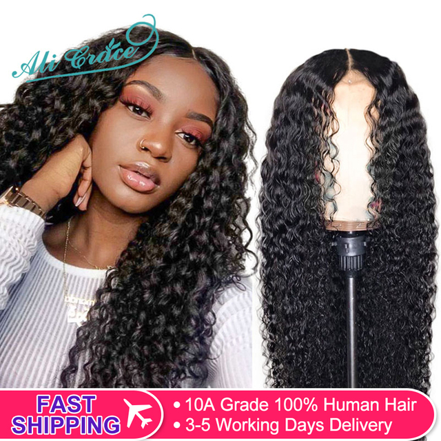 $ US $61.20 Ali Grace Brazilian Deep Wave Wig with Baby Hair 360 Lace Front Human Hair Wigs Pre-Plucked Deep Curly Wigs for Black Women