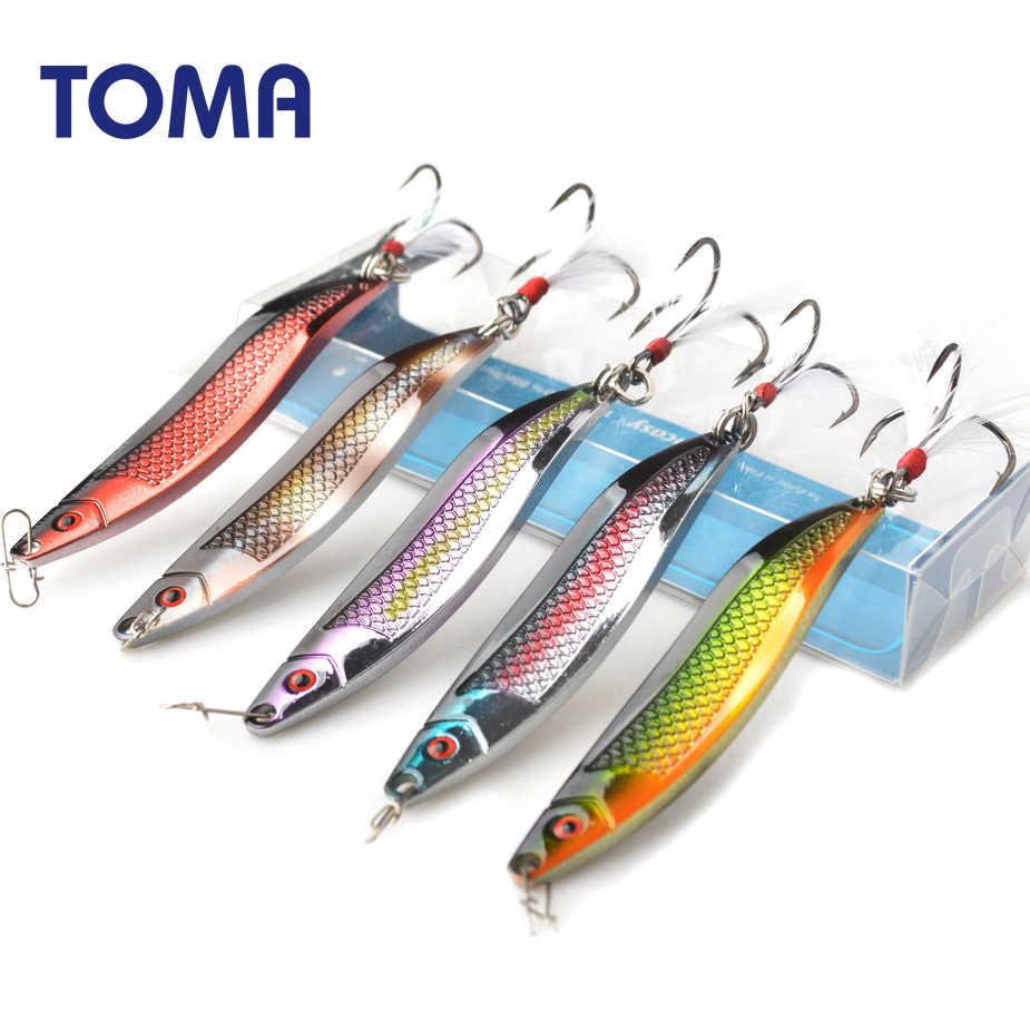 TOMA métal Zinc cuillère leurres de pêche 18g 25g Vibration manivelle basse artificiel dur appât plume crochet matériel de pêche