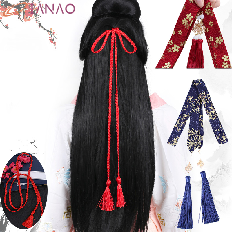 QIANAO Chinese Traditional Hair Accessories Hanfu Hair Ribbon Chiffon Hair Rope Embroidery Headwear Red Head Rope Braid Hairband