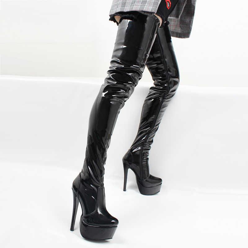 Jialuowei kadın uyluk yüksek çizmeler seksi süper yüksek ince topuk Platform çizmeler sivri burun fermuar over-the-diz yüksek dans ayakkabıları
