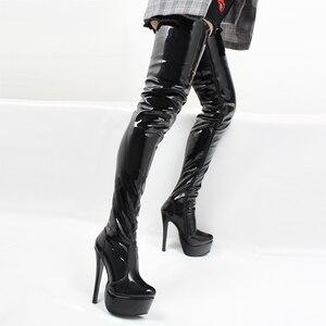 Image 5 - Jialuowei נשים ירך גבוהה מגפיים סקסי סופר גבוה פלטפורמה דק העקב הבוהן מחודדת רוכסן מעל לברך גבוהה נעלי ריקוד