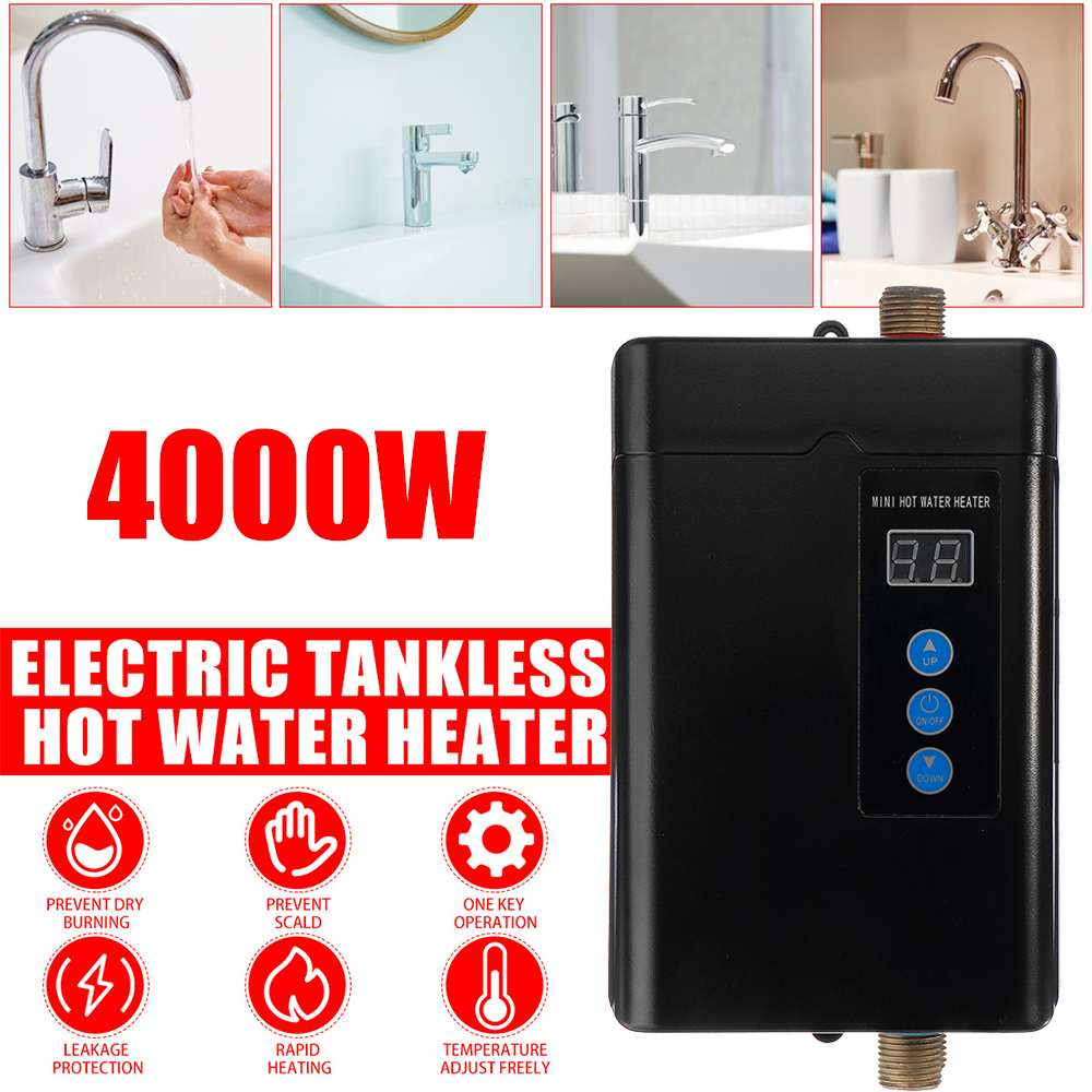 4000W Instant-Tankless Electric Water Heater Instantaneous Water Heater Instant-Electric Water Heating Fast 3 Seconds Hot Shower