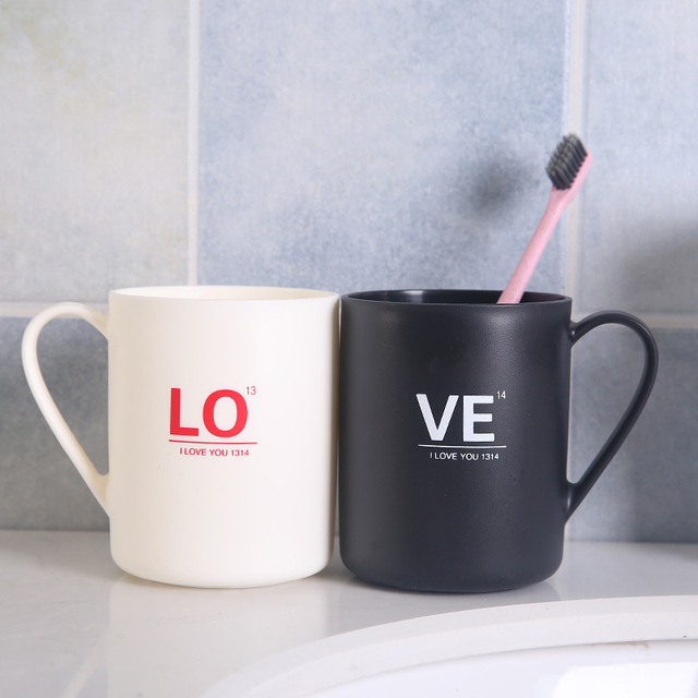 Household Bathroom Essential Large Capacity Plastic Tea Mug Brushing Toothbrush Alphabet LOVE Sweet Couple Washing New Cups 30|Bathroom Tumblers|   -