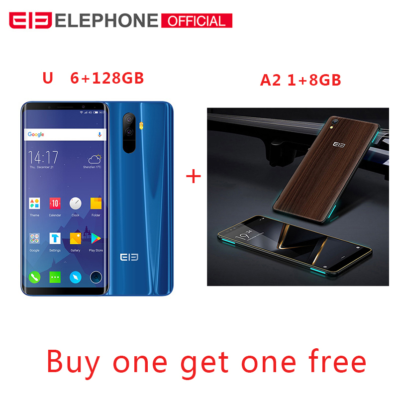 Elephone U 5.99 18:9 écran 6GB + 128G Face ID téléphone Mobile Android 7.1 MT6763 Octa Core 13MP double caméra arrière 4G LTE Smartphone