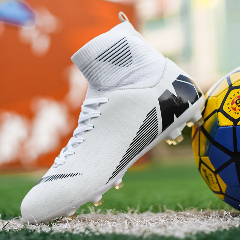Outdoor Men Boys Soccer Shoes Football Boots High Ankle Kids Turf Cleats Training Sport Sneakers Unisex Long Spikes Futsal Shoes|Soccer Shoes|Sports & Entertainment - title=