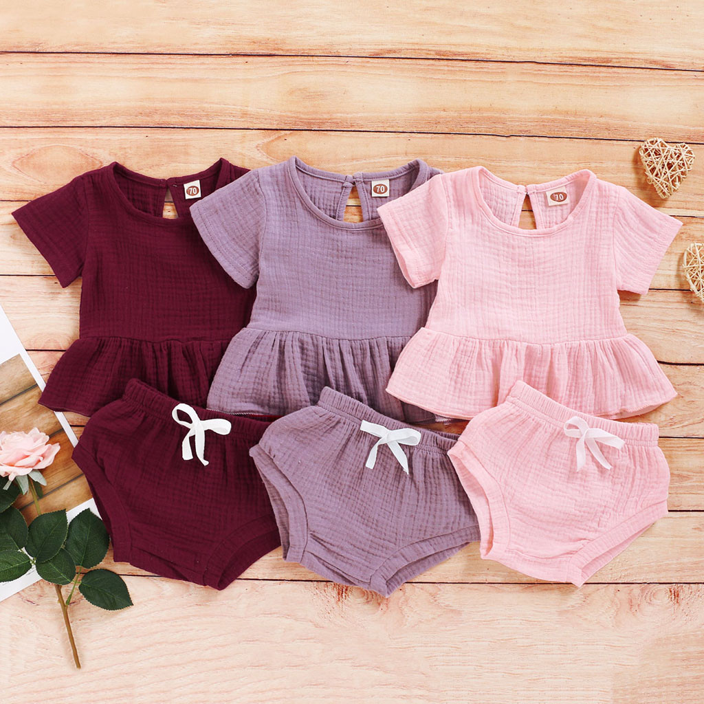 2020 Cool Infant Baby Girls Pure Color Ruffle T Shirt Tops +Shorts Outfits Set Roupa Infantil Menina одежда для мальчиков