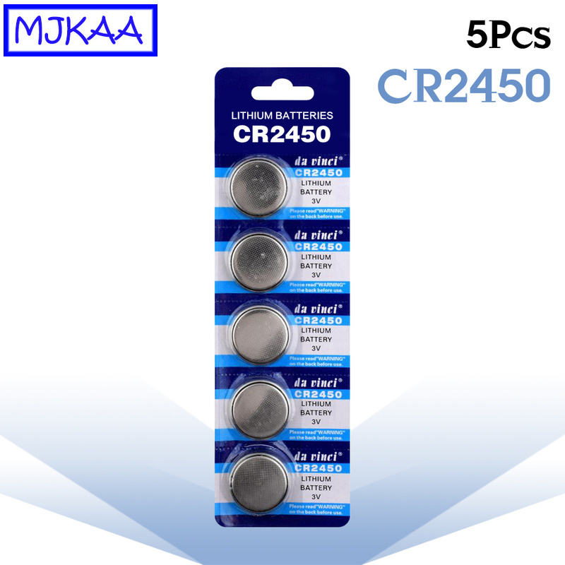 MJKAA 5Pcs CR2450 <font><b>3V</b></font> Lithium Button Batteries KCR2450 5029LC LM2450 Cell Coin Battery <font><b>CR</b></font> <font><b>2450</b></font> for Watch Electronic Toy Remote image