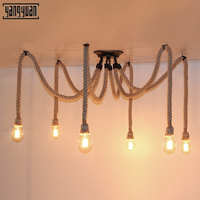 Led Vintage Hemp Rope Chandelier Antique Classic Adjustable Spider Lamp Light Ceiling Retro LED Pedant Light for restaurant Bar