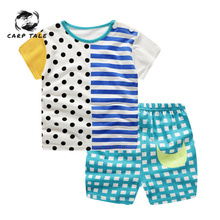 Cute Infant Baby Sets Boy Cartoon Giraffe T-shirt Tops+Pants Outfit Baby Girl Clothes Set Cotton Summer Baby Boys Clothing все цены