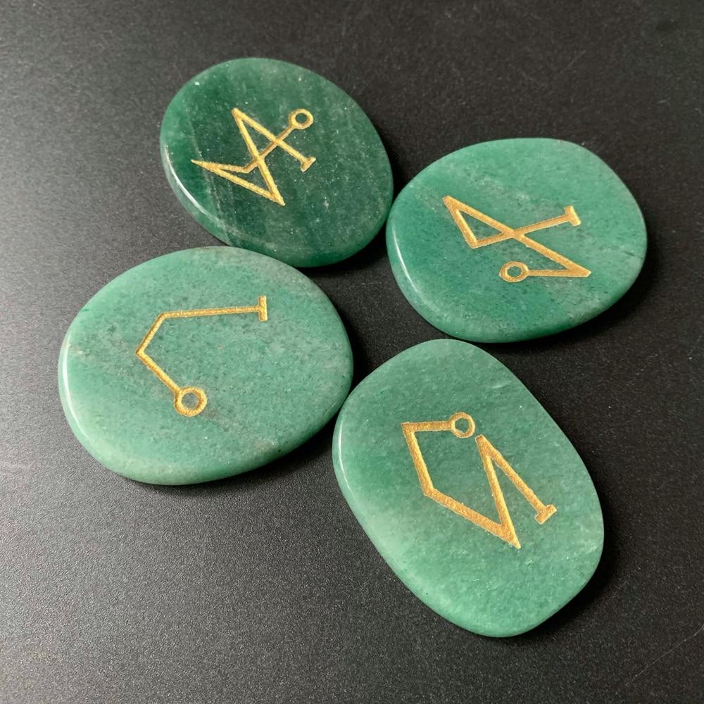 Natural Green Aventurine Palm Stones Archangel Symbols Uriel Michael Raphael Gabriel Chakra Healing Energy Crystals Stones Set