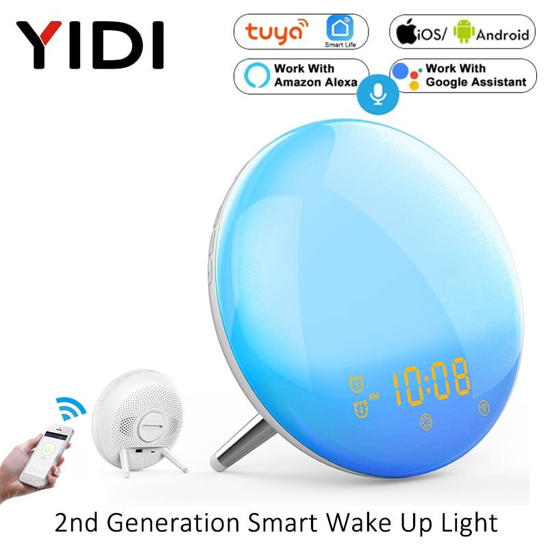 Tuya WiFi Smart Wake Up Light Workday Alarm Clock,Sunrise/Sunset Simulation 4 Alarms Snooze Function Work with Alexa Google Home