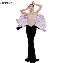 Женское Прозрачное платье с длинным рукавом, длинное платье с жемчужинами для дня рождения, для танцевальных шоу