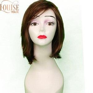 Louise brązowe i blond krótkie peruki styl bob prosto syntetyczne czarne damskie peruka z grzywką 12 cali miękkie włosy blond peruka