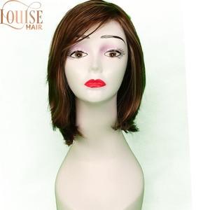 Pelucas cortas louise Brown y rubia, estilo Bob, peluca recta sintética negra para mujeres con flequillo, peluca Rubia de pelo suave de 12 pulgadas
