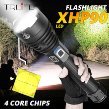160000LM XLamp XHP90 The Most Powerful Usb Zoomable Led Flashlight Xhp70.2 Tactical Flash Light Torch by 26650 or 18650 batter
