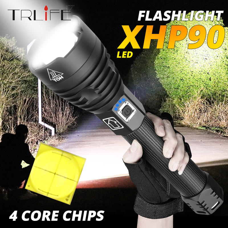 250000LM XLamp XHP90 The Most Powerful Usb Zoomable Led Flashlight Xhp70.2 Tactical Flash Light Torch By 26650 Or 18650 Batter