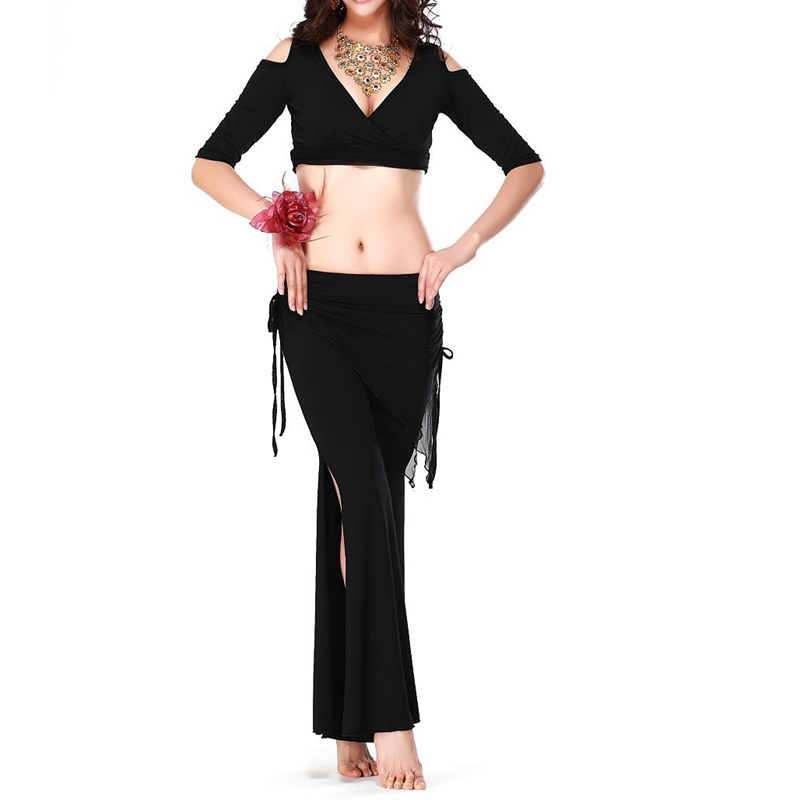 Belly Dance Costume Sexy Short Sleeves Top+milk Silk Waist Pants 2pcs/suit For Belly Dancing Set (red)