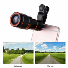 UK 8X Zoom Optical Lens Telescope + Universal Clip For Camera Mobile Cell Phone clip on 8x18 optical zoom mobile phone telescope lens hd telescope camera lens for universal mobile phone high quality
