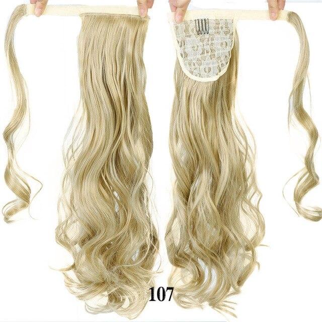 HOUYAN 24 дюймов длинные толстые прямые волосы кудрявые волосы синтетические волокна конский хвост обернутый парик длинный парик конский хвост парик - Цвет: 107