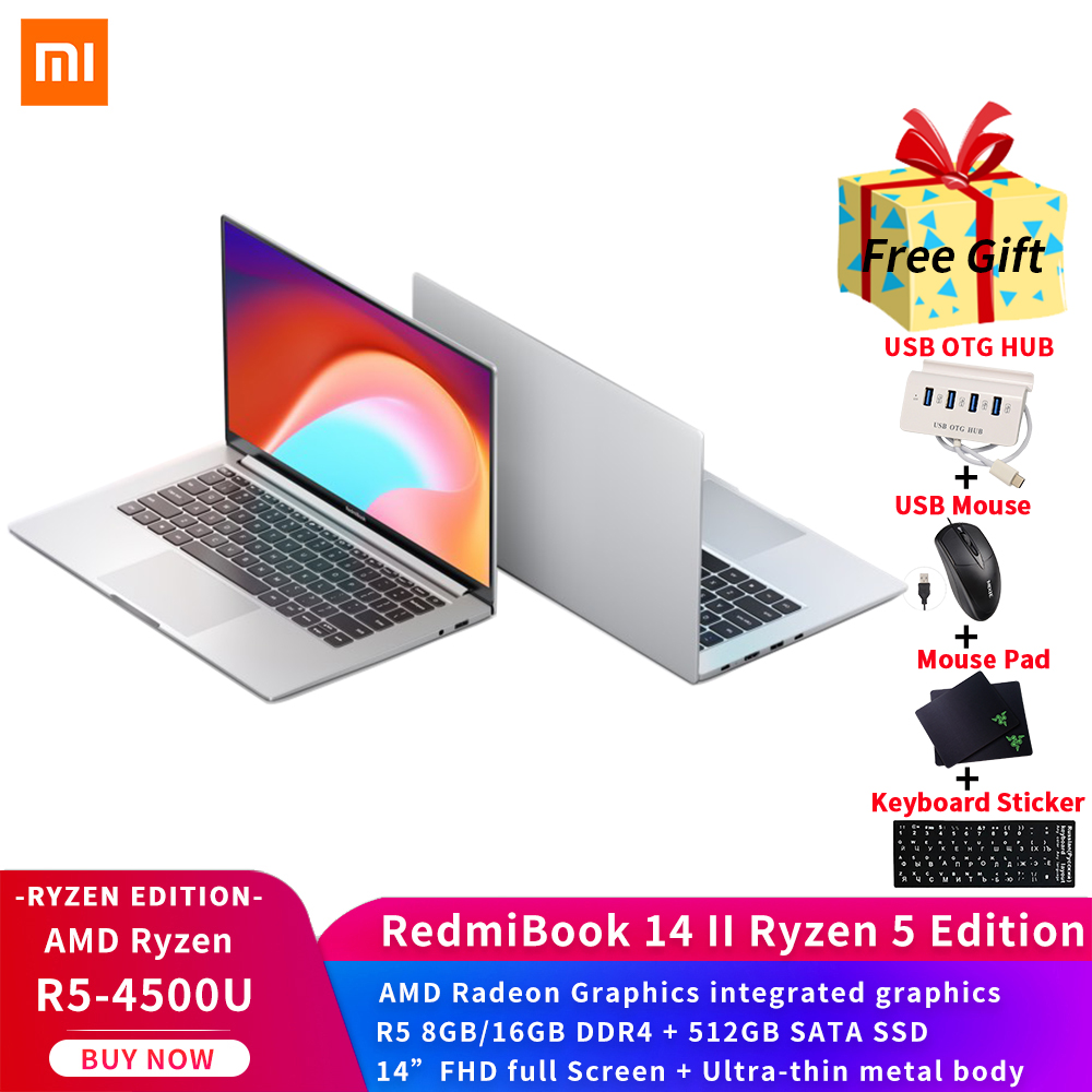 Xiaomi Laptop RedmiBook 14 II AMD Ryzen Edition 5- 4500U 8GB 16GB DDR4 512GB SSD 14inch FHD full Screen Win10 Ultra-thin metal body