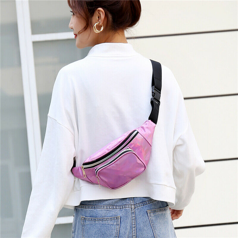 Lady Rainbow Reflective Laser Sports Chest Bag Woman Pocket Students Outdoor Zipper Messenger Waist Bag Fanny Waist Packs