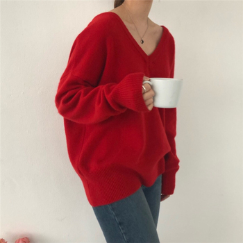 Ailegogo New 2020 Autumn Winter V-Neck pullover Warm Women Sweaters Fashion Sexy Casual Korean Style Female Jumpers SW7113 2
