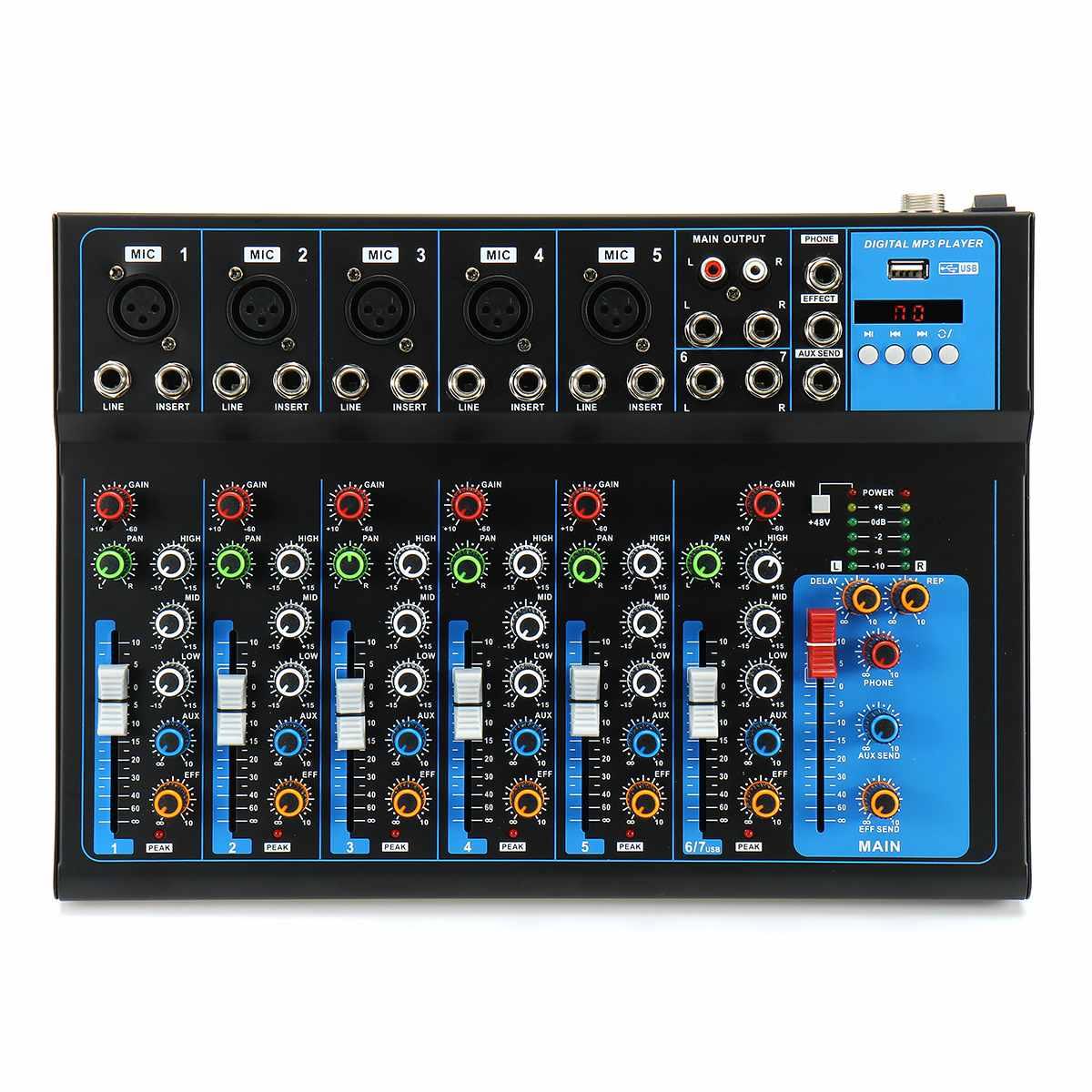7 kanał bluetooth mikrofon cyfrowy mikser dźwięku z USB DJ dźwiękowej konsola miksująca 48V wzmacniacz do Karaoke KTV mecz części